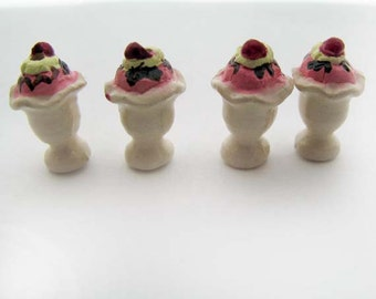 4 Tiny Ice Cream Sunday Beads - CB898