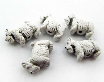 10 Tiny Scotty Dog Beads - white - CB151
