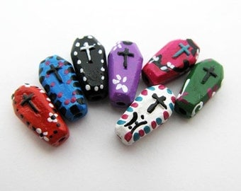 20 Tiny Day of the Dead Coffin Beads