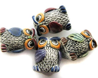 10 Large Owl Beads - mixed wings