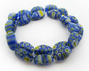 Blue with Yellow Nugget Millefiori Beads - CG044