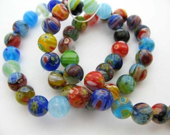 Medium Multicolored Round Millefiori Beads - CG244