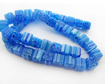Light Blue with White Cube Millefiori Beads - CG069