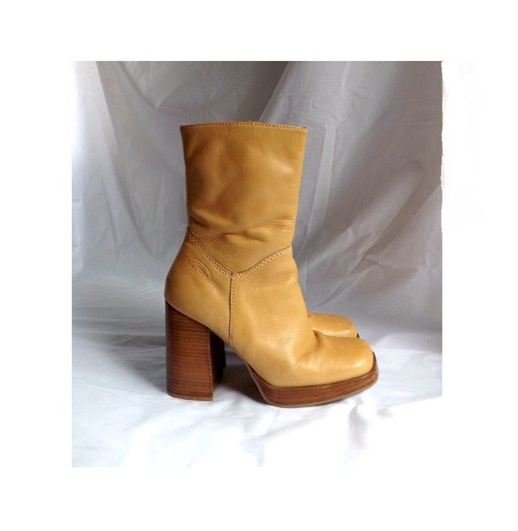 1980s Leather Boots // vintage 80s BONGO Leather mid calf zip up Boots size 7 M