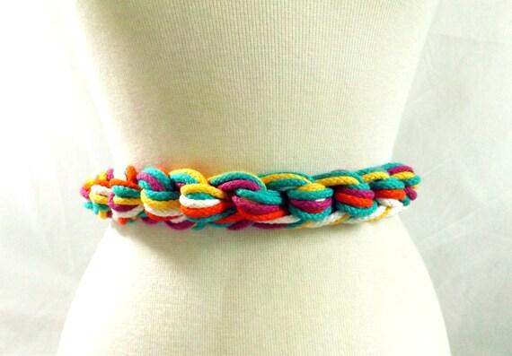 rainbow 80s belt / vintage Rainbow Knot Stretchy Woven Belt wearable art