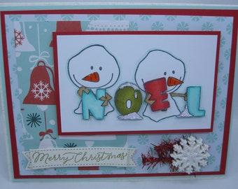 Noel Snowmen - Blank NoteCard, Greetings Card, Handmade Card
