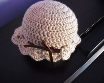 Crochet Baby Hat, Cream, Infant Dressy Hat