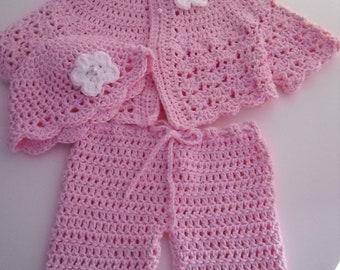 Crochet Cotton Baby Sweater Set, Newborn, Candy pink