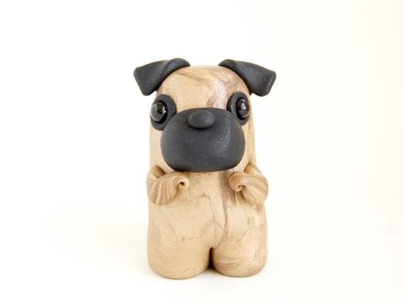 Pug Dog Figurine - Petite Fawn Pug by Bonjour Poupette