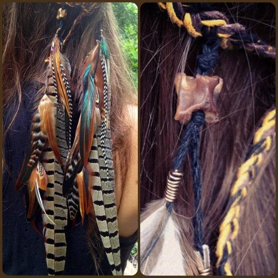 Headband/Hatband // Snake vertebrae, rooster, peacock, pheasant feathers, tribal, hippie, native american, southwest, boho, bohemian