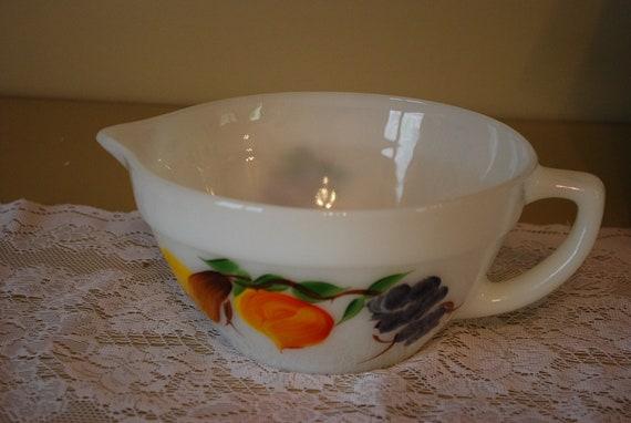 Vintage/Antique FireKing Painted Milk Glass Batter Bowl