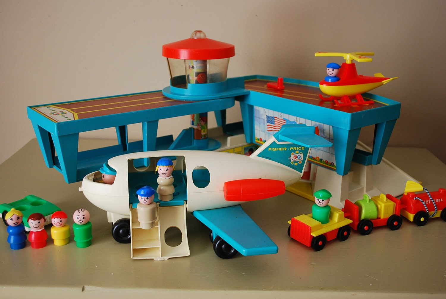 vintage fisher price little people airport by. Black Bedroom Furniture Sets. Home Design Ideas