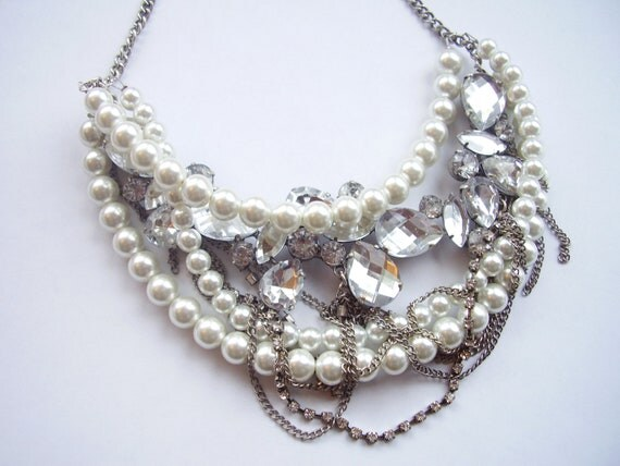 Crystal Rhinestone, antique silver chains, white pearl, multi strand twisted statement necklace