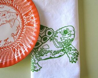 Cloth Napkins - Screen Printed Cloth Napkins - Eco Friendly Dinner Napkins - Turtle - Handmade Cotton Napkins - Table Setting - Kitchen