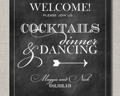 Cocktails Dinner and Dancing Welcome Chalkboard Style Wedding Poster, Table Sign or Guest Book Sign by Flair Designery - FlairDesigneryLLC