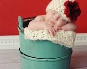 Newborn Baby Cloche Flower Hat Red White