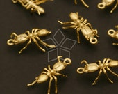 PD-492-MG / 2 Pcs - Ant Charms, Matte Gold Plated over Brass / 9mm x 13mm