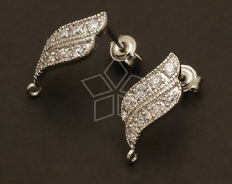 SI-061-OR / 2 Pcs - Flame Wave Earring Findings, Silver Plated over Brass Body with .925 Sterling Silver Post / 7.5mm x 18mm