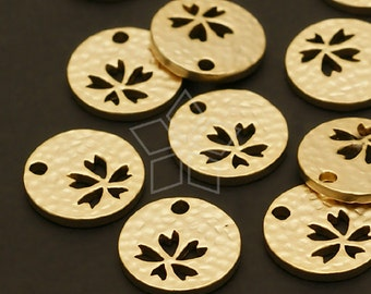 PD-463-MG / 4 Pcs - Mini Hammered Disc Pendant (Flower), Matte Gold Plated over Brass / 11mm