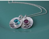 2 Birthstone Round Discs with Hand Stamped Names Necklace