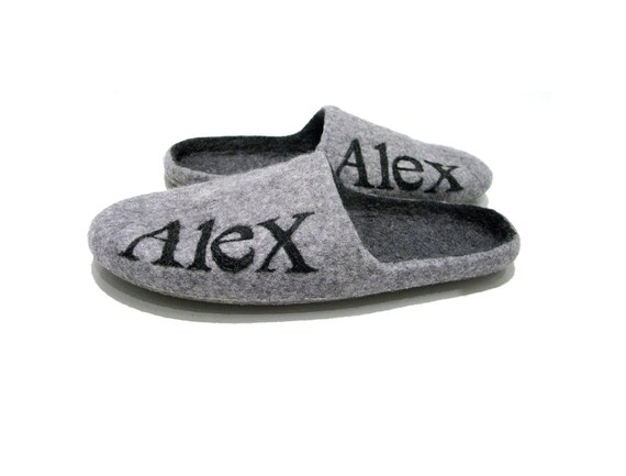 mens slippers with name grey house slippers inicialized mens