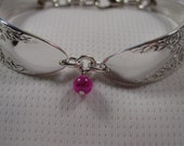 A Spoon Rings Plus Spoon Bracelet Rose and Leaf Pattern With Pink Bead Spoon and Fork Jewelry b115