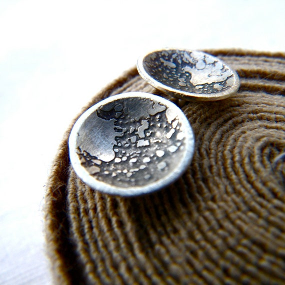 Oh that I could take the moon from the sky...silver earrings by Cari-Jane Hakes, Hybrid Handmade
