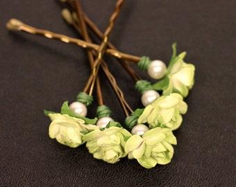 Green Apple Rose, Bridal Hair Accessories, Wedding Hair Accessory, Bridesmaid Hair Flower, Green Hair Flower, Brass Bobby Pin - Set of 5