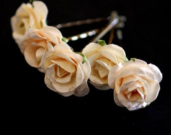 Ivory Rose, Bridal Hair Accessories, Bohemian Wedding Hair Accessory, Cream Hair Flower, Ivory Hair Flower, Brass Bobby Pins - Set of 5
