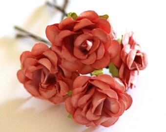 Peach Rose, Bridal Hair Accessories, Bohemian Wedding Hair Accessory, Peach Hair Flower, Brass Bobby Pins - Set of 4