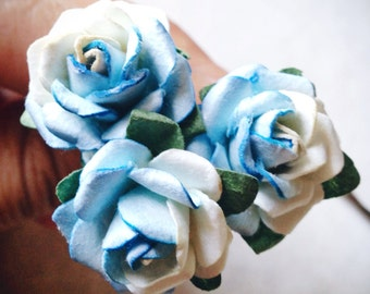 Something Blue Rose, Bridal Hair Accessories, Bohemian Wedding Hair Flower, Blue Hair Flower, Bobby Pins - Set of 3