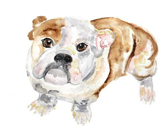 Puppy art print, Dog Art, Dog Print, bulldog painting, Dog Watercolor Painting, dog painting, watercolor dog