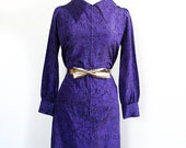 1960s Vintage Dress / Purple Print Dress