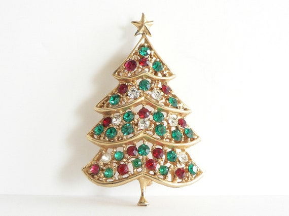 Vintage Hedy Brooch Christmas Tree Brooch Signed