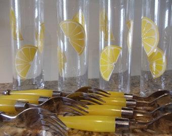 Mid Century Retro Lemon Yellow Dessert Forks Set of Eight