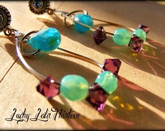 Silver, Swarovski crystal and Czech glass beaded earrings