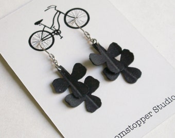 Upcycled Rubber Clover Leaf Earrings - 50% off Sale