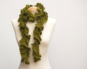 Olive green crochet leaves scarf