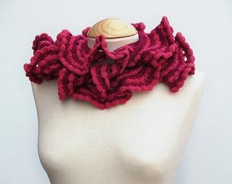 Cherry red flounced crochet scarf