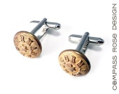Steampunk Cufflinks Soldered Antique Railroad Conductor Uniform Button Vintage Upcycled Mens Cuff Links by Compass Rose Design