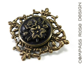 Victorian Button Brooch - Antique Button Pin - Vintage Blue Floral  - Brass, Victorian Steampunk Jewelry by Compass Rose Design