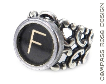 Vintage Ring Typewriter Key Initials  - Steampunk Ring -  Letter F Ring - Name Ring - Custom Initial Ring - Silver Adjustable Ring