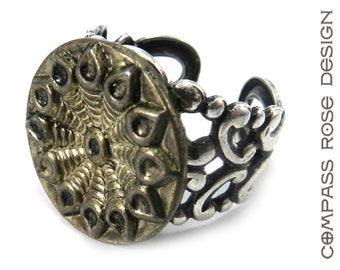 Antique Button Ring Victorian Button Ring Silver and Gold Botanical Flower Cut Steel Blossom Antique Button on Silver