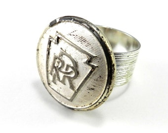 Steampunk Ring - Vintage Railroad Uniform Button Ring - Pennsylvania Railroad - Etched Silver - Steampunk Jewelry by Compass Rose Design