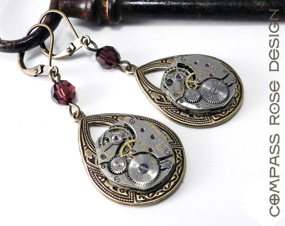 Steampunk Earrings Vintage Mechanical Watch Movement Victorian Larger Teadrop Earring with Burgundy Swarovski Crystal by Compass Rose Design