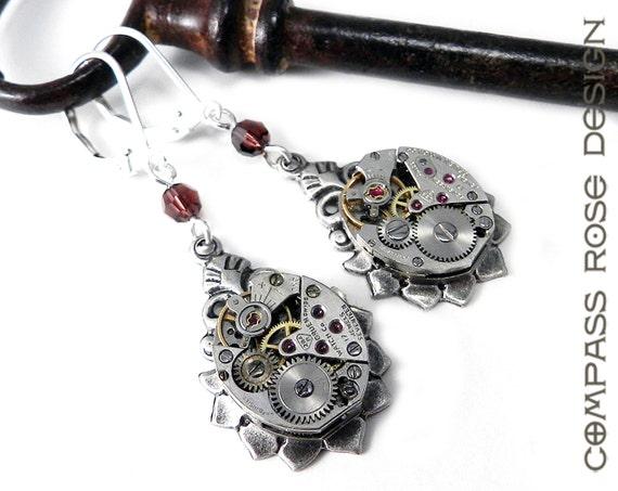 Steampunk Earrings Silver Vintage Teardrop Watch Earrings 17 Jewel Clockwork Earrings - Burgundy Swarovski Crystal