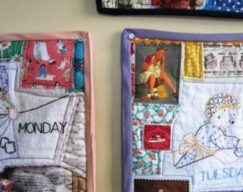 Feminist Art Quilt Wall Days of the Week Housework Vintage Retro 7 Panels 14 x 13 Inches Each