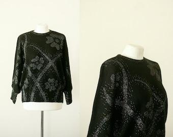 Black Sweater L XL, 1980's Metallic Silver Black Knit, 1980's Sweater Large