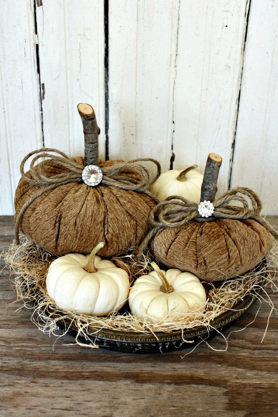 Fabric Pumpkins-Rustic-Toffee-Elegant