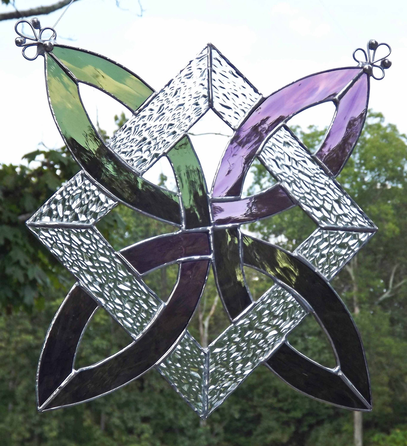Celtic Knot Stained Glass Suncatcher Panel Olive Green and